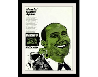 "1967 HENRY MANCINI Jazz Music Ad ""Big Band Sound"" Vintage Advertisement Wall Decor Art Print"