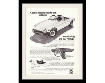 "1977 MG Convertible Car Ad ""Ken Dallison"" Vintage Advertisement Print"