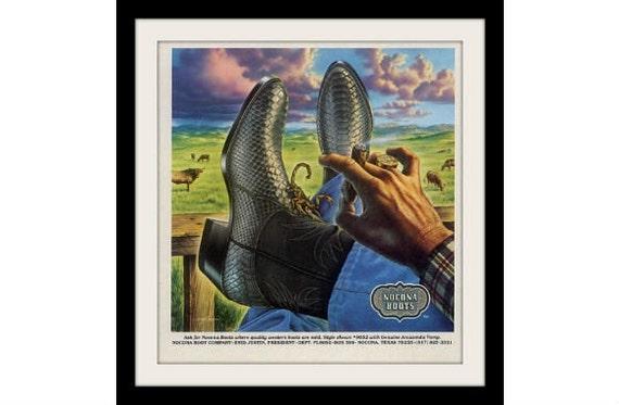 Nocona Scorpion Western Cowboy Boots Ad Vintage By