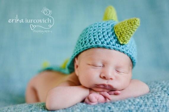 Dinosaur Baby Hat, Dragon Baby Boy Hat, Crochet Costume, Photo Prop - choice of colors