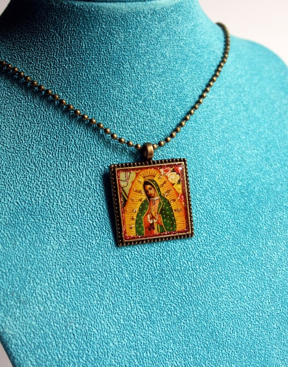 Virgen de Guadalupe Pendant Necklace-  Our Lady, Virgin Mary, Virgin of Guadalupe