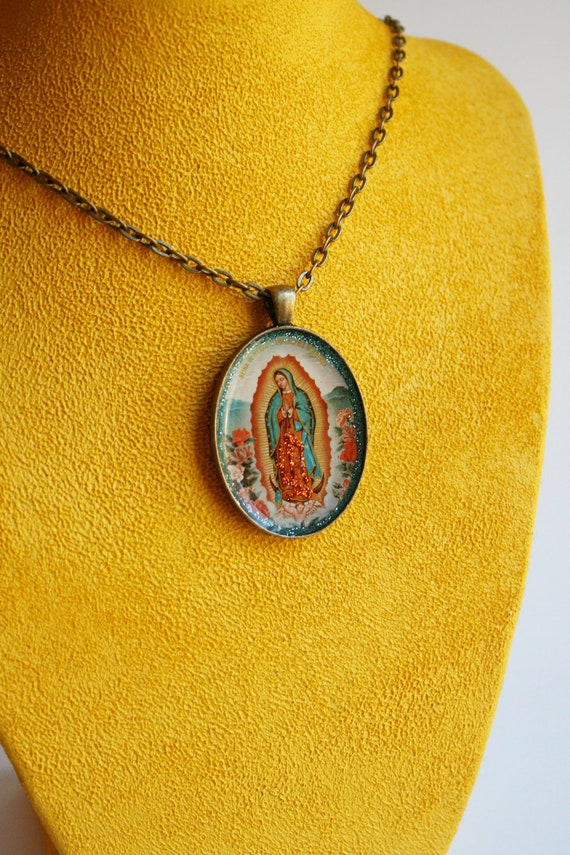 La Virgen de Guadalupe, Virgin Mary, Our Lady Pendant Necklace- Mexican Kitsch