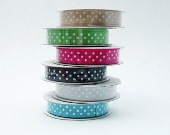 SALE Polka Dot Ribbon Assortment Satin Pink Green Black Blue Gray