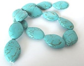 "Turquoise Magnesite Puffed Oval Beads, 30x20mm, 15"" Strand"