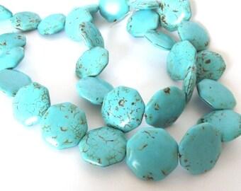 "Turquoise Magnesite Puffed Hexagon Shaped Beads, 26x26mm -16"" Strand"