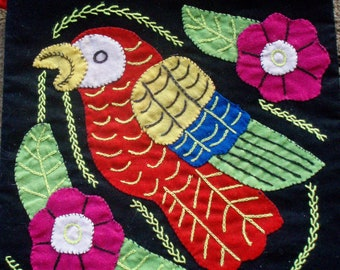 Appliqued Bird with Flowers