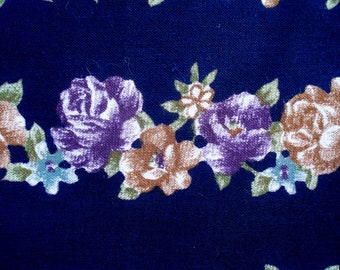 Fabric with Rows of Flowers in Blues