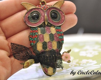 OWL Necklace - Colourful Owl with Tiny Leaf Dangle Long Necklace