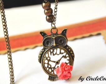 OWL Necklace - Fat Clock Owl Long Necklace - Antique Bronze Chain Necklace