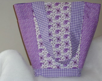FINISHED Pretty Lavender Paisley and Floral Print Out N About Tote Bag Purse by Sew Practical, Mom and Pop Craft