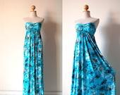 Gorgeous Summer Blue Floral Maxi Dress