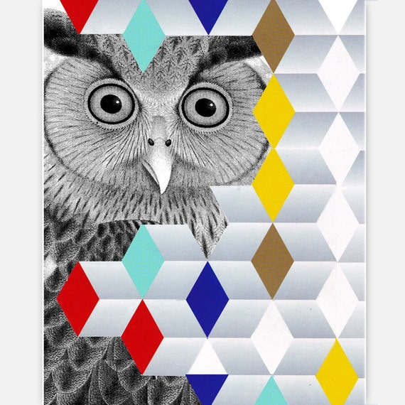 Mixed media Decorative art Animal painting drawing illustration portrait  print POSTER 8x10HELLO - Owl Portrait