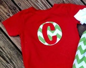 Christmas Chevron boy initial shirt Personalized