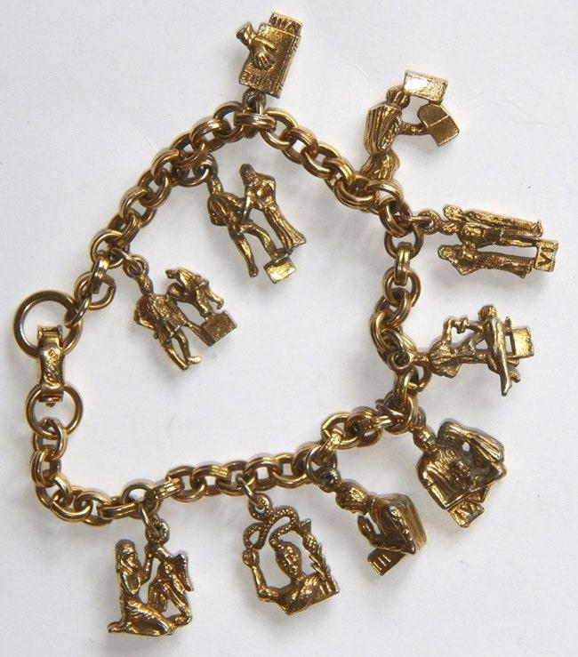 signed coro ten commandments charm bracelet