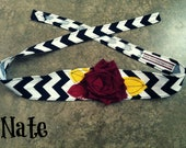 black and white chevron headband with a maroon fabric flower and maroon and gold leaves - ASU - photo prop -