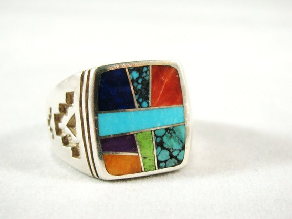 SALE Vintage Men's Navajo Ring Turquoise Coral Lapis gemstone Inlay size 11 signed