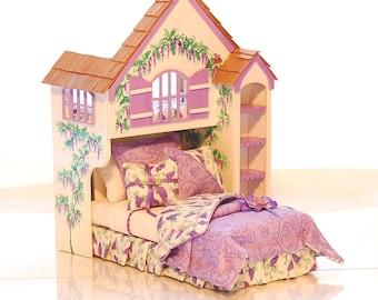 Wisteria Lane Purple PLAYHOUSE BED Dollhouse Miniature Custom Built Hand-Painted