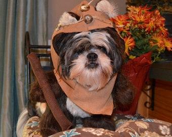 Furry Brown Woodland Bear Dog Halloween Costume with Hood