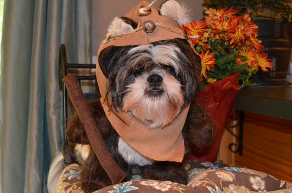 Furry Brown Woodland Bear Dog Halloween Costume with Hood