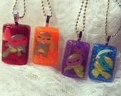 Kawaii Teenage Mutant Ninja Turtles Glitter Resin TMNT Necklace(Made to order)