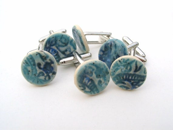 Cuff links blue turquoise ceramic stamped with Indian wood block unique gift for men