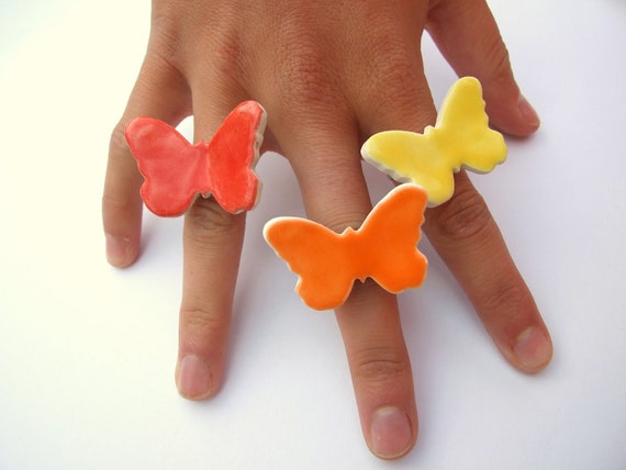 Butterfly ring ceramic statement ring adjustable red yellow orange Spring, Summer colours