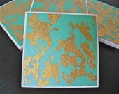 Turquoise and Gold Leaf Coasters - Set of 4