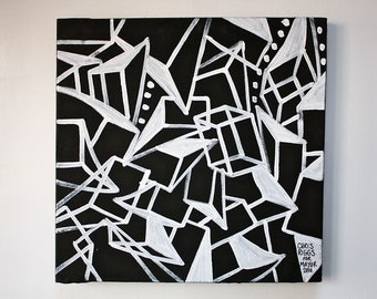 ORIGINAL black and white abstract contemporary minimalism fine art modern cubism portrait street art urban painting