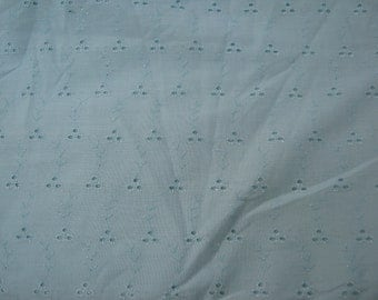 On Sale - Pale Green Broderie Anglaise  Sewing Fabric  from the 1990s