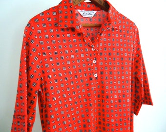 Vintage 60s Women MOD Dress Red and Blue Collared button up V Neck Hipster Retro Mid century Atomic Twiggy