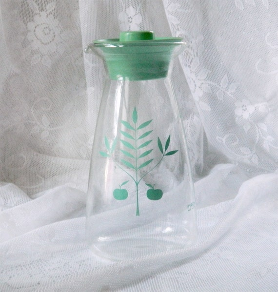 Reserved - Pretty Pyrex Aqua Apple Design Glass Carafe