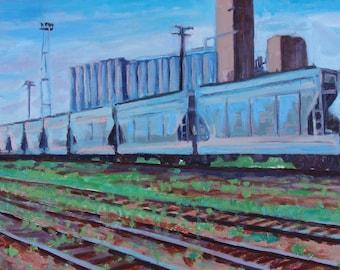 Traincars - original painting