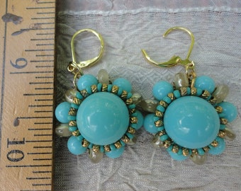 Vintage, Plastic Aqua Blue and goldtone earrings converted to pierced