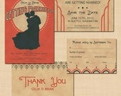 Charleston Wedding Invitation Suite: Save the Date, Invite, RSVP, and Thank You Card
