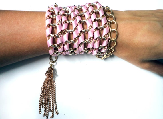 New Trend -  Braided Pink Satin Ribbon and Gold Tone Aluminum Metal Chain Bracelet with Lobster Clasp Closure for Women
