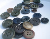 Rustic Vintage Buttons / Brown, Moss Green, Fall Buttons