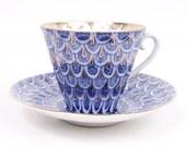 Vintage Lomonosov Teacup & Saucer USSR Forget Me Not Pattern Cobalt Blue and Gold