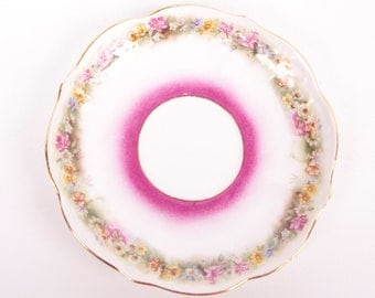 Vintage 1847 Demitasse Saucer C T & Co Purple Floral Porcelain Bone China German Eagle Mark