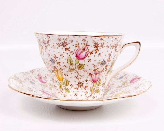 Vintage Rosina Teacup Bone China England June Pattern