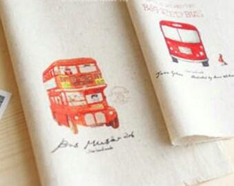 2 Pcs Dyeing Fabric,Cotton Linen,Craft,Retro Bus,Double-decker Bus,Pattern,Vintage Style,Unique,Sewing(QT70)