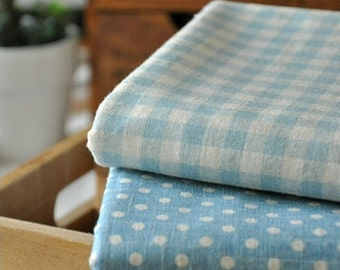 Half Yard Linen fabric, polka dots or Blue and white gingham for choice,diy,colorful fabric,garment accessory C320