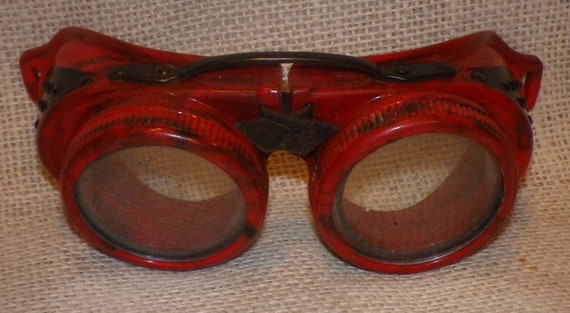 Awesome Pair Red and Black Hard Marbled Plastic/Bakelite Goggles