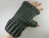 Crochet grey fingerless gloves