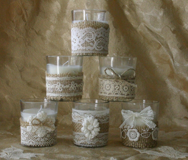 burlap and lace wedding votives wedding tea candles ivory. Black Bedroom Furniture Sets. Home Design Ideas