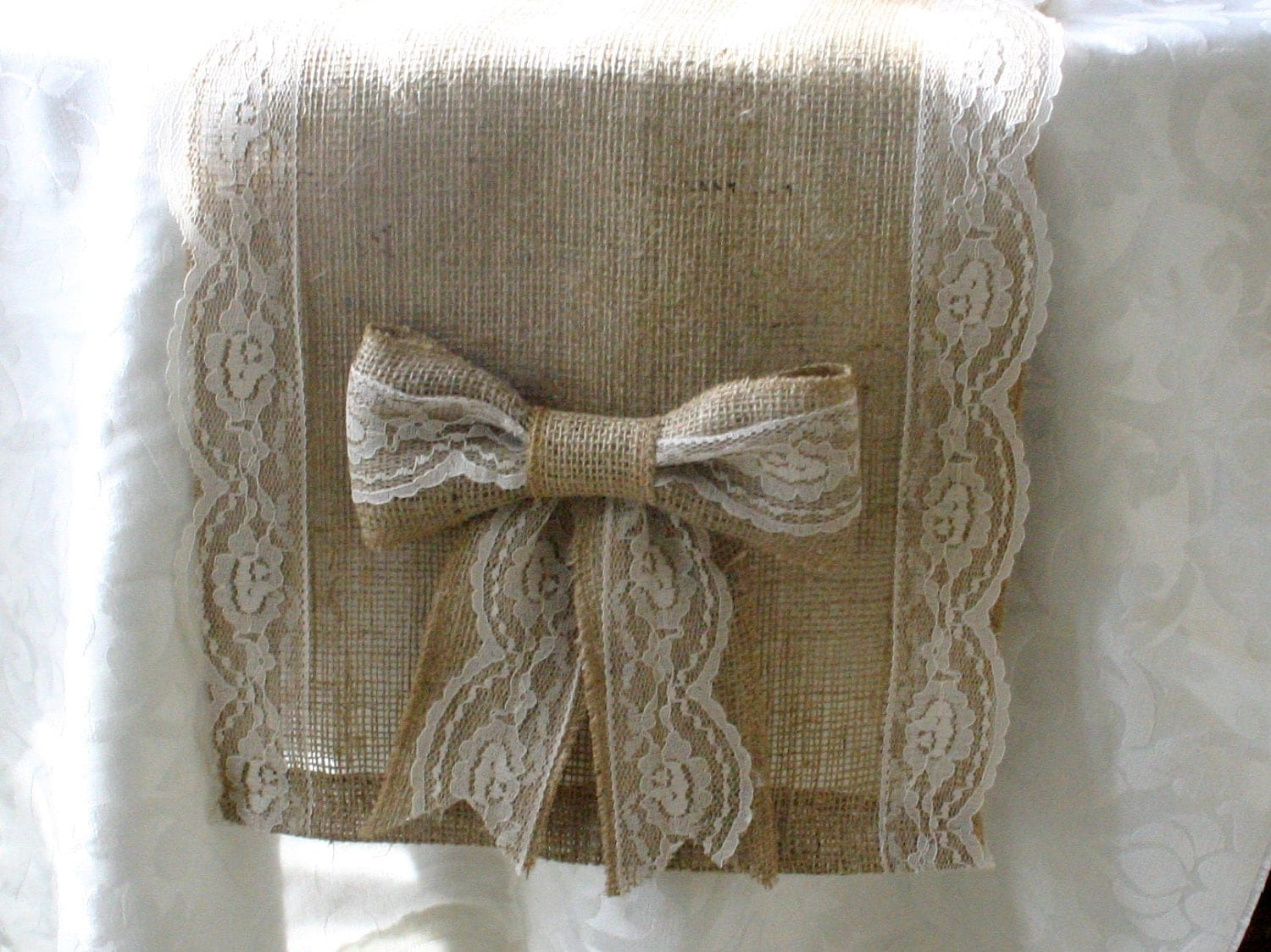 Burlap and lace table runners French country by Bannerbanquet