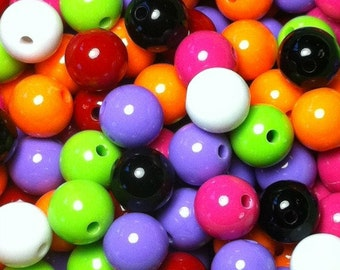 20ct Acrylic Gumball Beads 14mm Chunky Resin Beads - Mixed Color Assortment