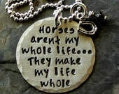 Sterling Silver Hand stamped Horse Quote Necklace for Equestrian - Horse Lover.Necklace