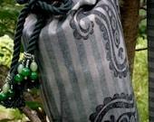 Stripy green yoga mat bag beaded