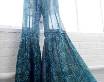 Large size drawstring flared pants upcycled sari blue green