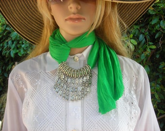 Scarf with Jewelry Jewelry Scarf  necklace scarf  Fringe Scarf with Jewelry green hottest color